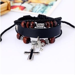 Jewelry - Beaded Religious Cross Leather Multilayer Bangle